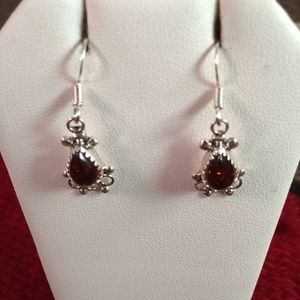 Zuni Sterling Silver and Amber Flower Dangle